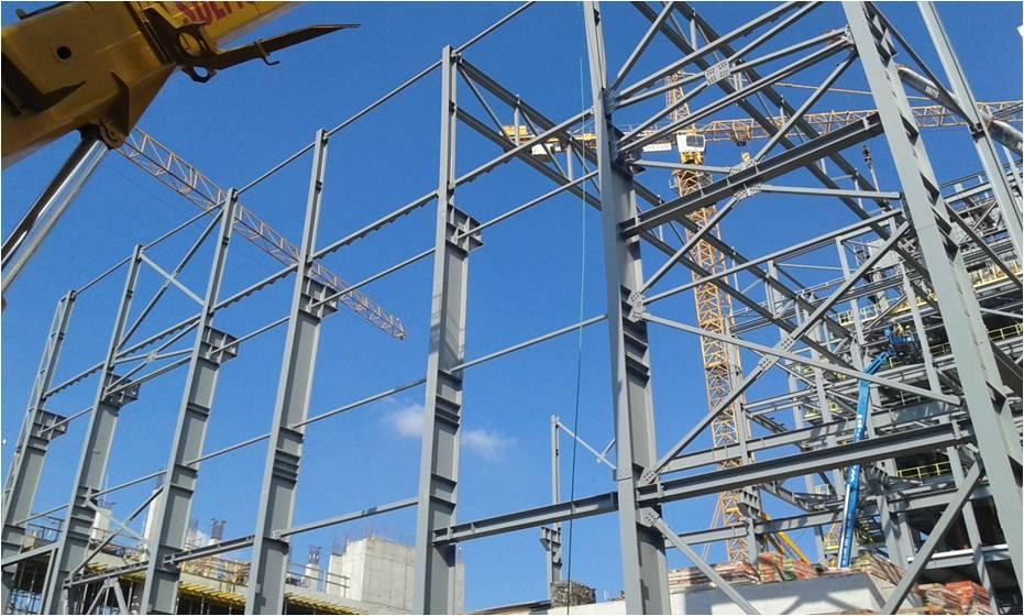 Stahlkonstruktion des Maschinenraumgebäudes